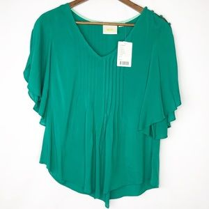 ANTHROPOLOGIE Maeve Kelly Green Blouse NWT - 4